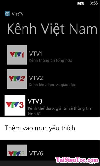 Tải ứng dụng xem phim, nghe nhạc VietTV cho Windows Phone + Hình 5