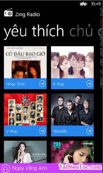 Tải ứng dụng nghe nhạc - Zing Radio cho Windows Phone + Hình 3