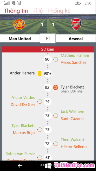 Tải Bóng Đá 0h - phần mềm xem bóng đá cho Windows Phone + Hình 3