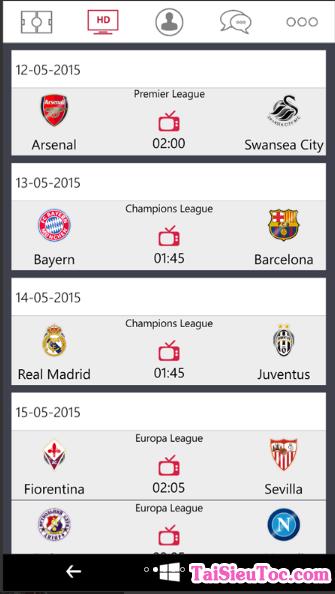 Tải Bóng Đá 0h - phần mềm xem bóng đá cho Windows Phone + Hình 4