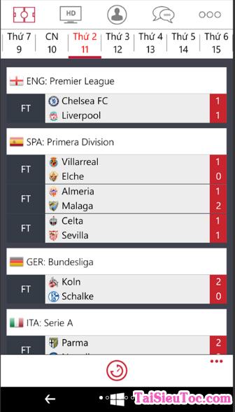 Tải Bóng Đá 0h - phần mềm xem bóng đá cho Windows Phone + Hình 5