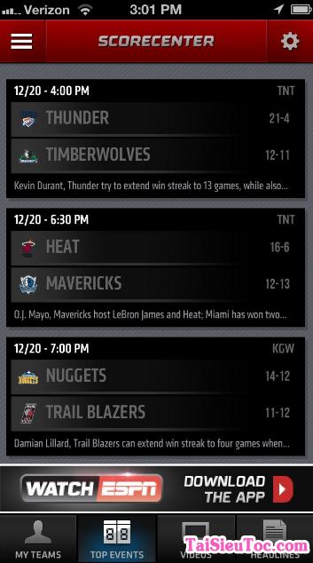 Tải ESPN Score Center - Ứng dụng xem tin thể thao cho Windows Phone + Hình 3
