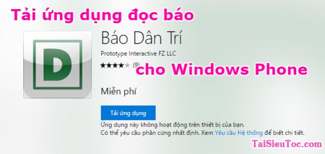 Tải ứng dụng đọc báo cho Windows Phone – Báo dân trí