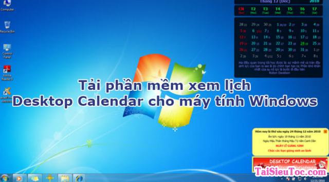 Tải DesktopCalendar – Phần mềm xem lịch trên máy tính Windows