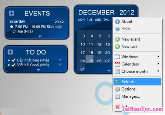 Tải phần mềm thiết kế lịch Rainlendar Lite cho Windows + Hình 2