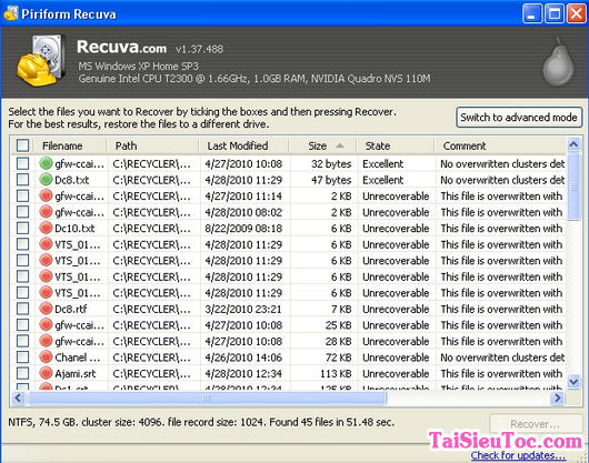 Tải cài đặt Recuva - Ứng dụng khôi phục dữ liệu bị mất trên windows + Hình 3
