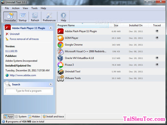 Sử dụng Uninstall Tool để xóa bỏ các ứng dụng ra khỏi máy tính + Hình 2
